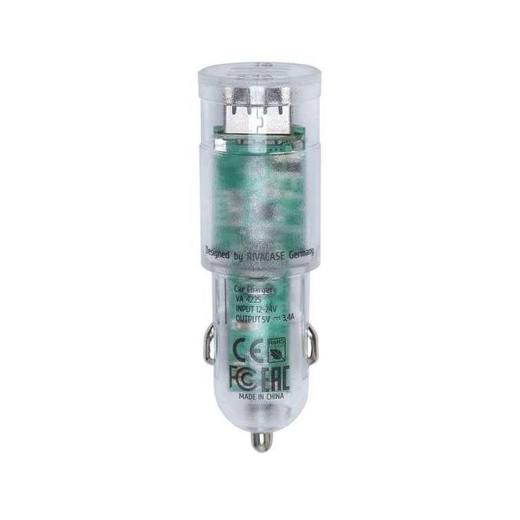 CHARGEUR VOITURE 2 X USB 3.4A TRANSPARENT + CORDON MICRO USB va4223td13