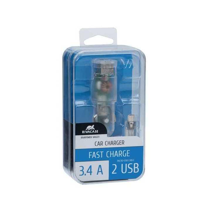 CHARGEUR VOITURE 2 X USB 3.4A TRANSPARENT + CORDON MICRO USB va4223td14