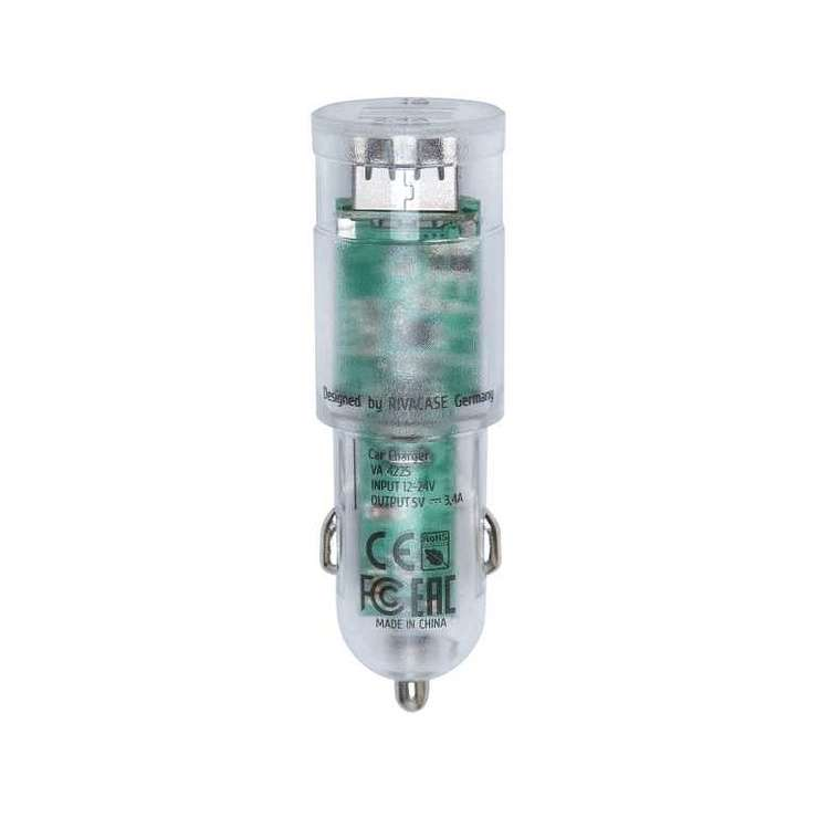 CHARGEUR VOITURE 2 X USB 3.4A TRANSPARENT + CORDON LIGHTNING va4225td24