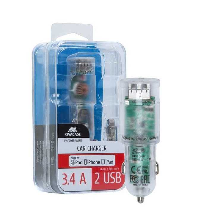 CHARGEUR VOITURE 2 X USB 3.4A TRANSPARENT + CORDON LIGHTNING va4225td25