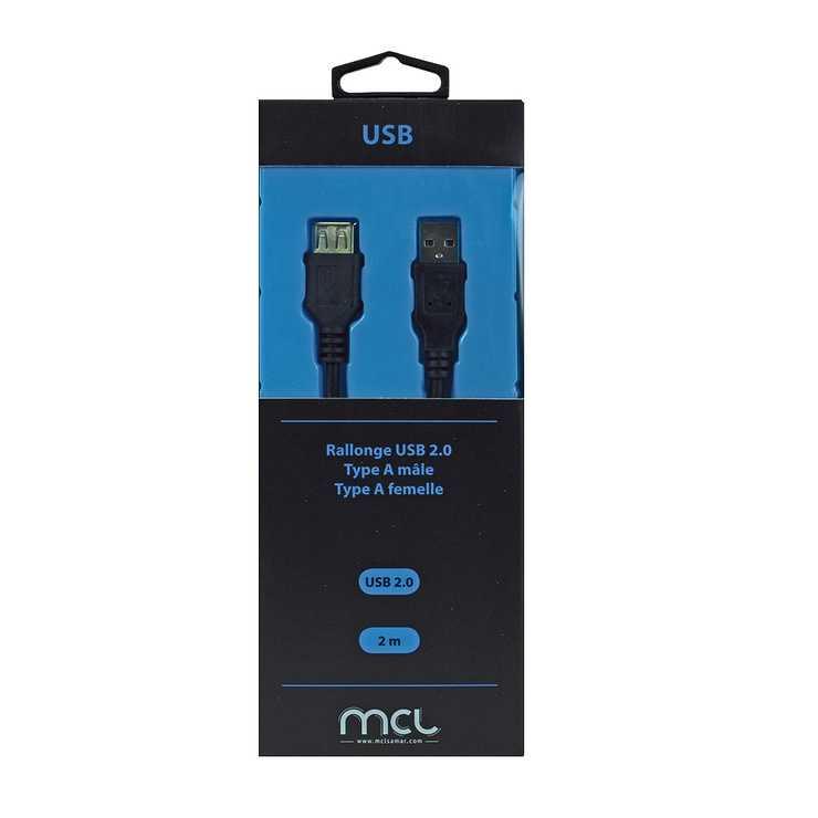 RALLONGE USB 2.0 TYPE A/A MALE/FEMELLE 2M SOUS BLISTER 0
