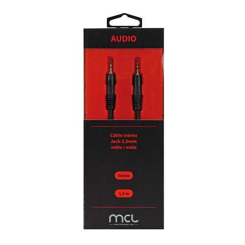 CORDON AUDIO STEREO JACK 3.5 MALE/MALE 1.5M SOUS BLISTER 0