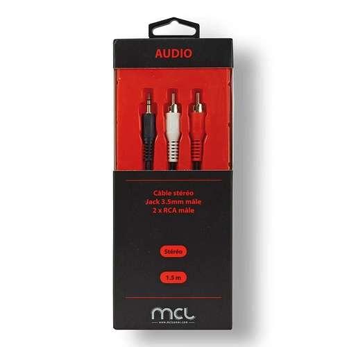 CORDON AUDIO STEREO 2 X RCA MALE/JACK 3.5 MM MALE 1.5M SOUS BLISTER 0
