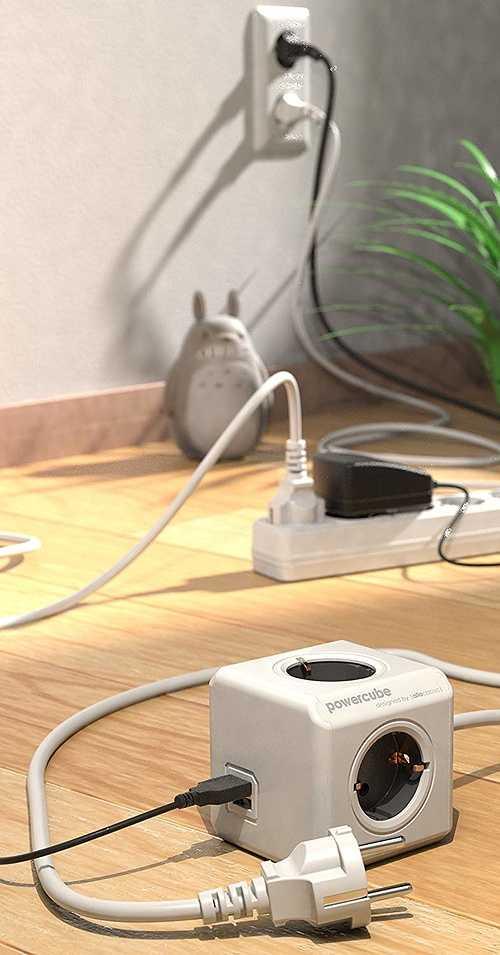 MULTIPRISE POWERCUBE EXTENDED 4 PRISES FR + 2 x USB 2402gyfreupc-3