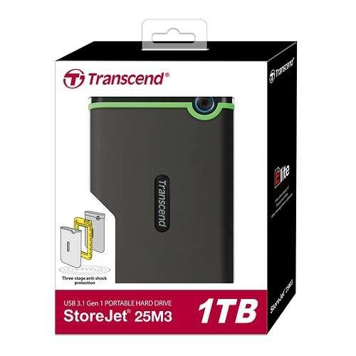 """HDD EXTERNE 2.5"""" 1 TO SATA USB 3.0 ANTICHOC SLIM ts1tsj25m3s"""