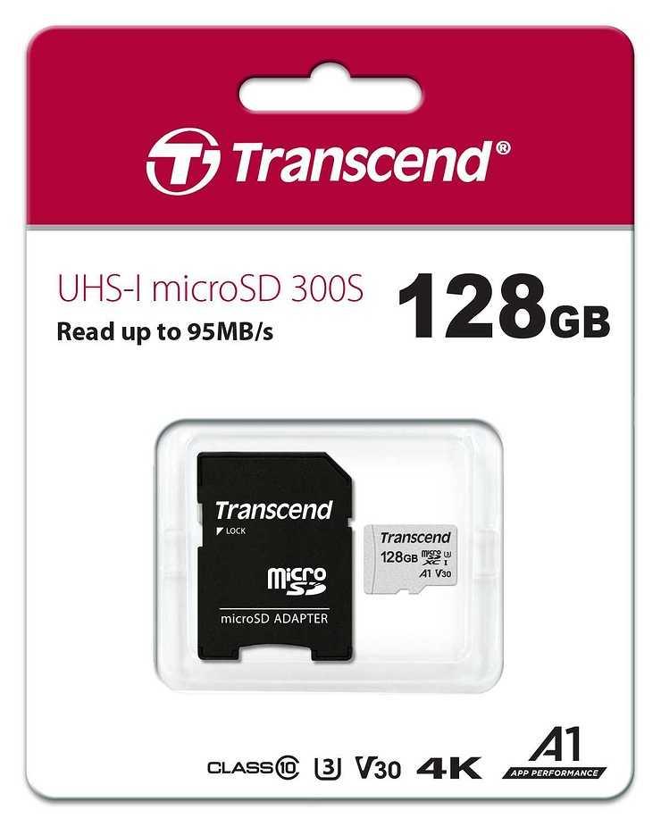 CARTE MEMOIRE MICRO SECURE DIGITAL 128GB + ADAPTATEUR ts128gusd300sa-ppbpkg1806