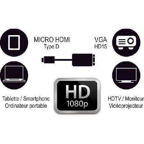 CONVERTISSEUR HDMI (TYPE D) MALE / VGA FEMELLE - 22CM cg286c4