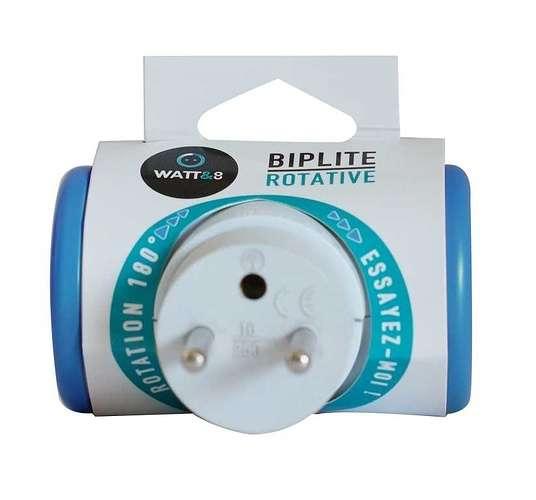 MULTIPRISE BIPLITE ROTATIVE 180° - BLEUE mpf2cblct-p