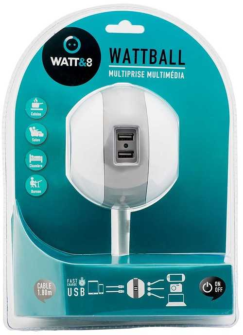MULTIPRISE WATTBALL MULTIMEDIA 2XSECTEURS + 2 X USB GRIS mpwattballgrb2