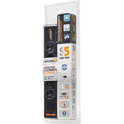 PRISE PARAFOUDRE S5 USB NEO - 5 PRISES FR + 2 USB 612981