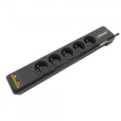 PRISE PARAFOUDRE S5 USB NEO - 5 PRISES FR + 2 RJ45