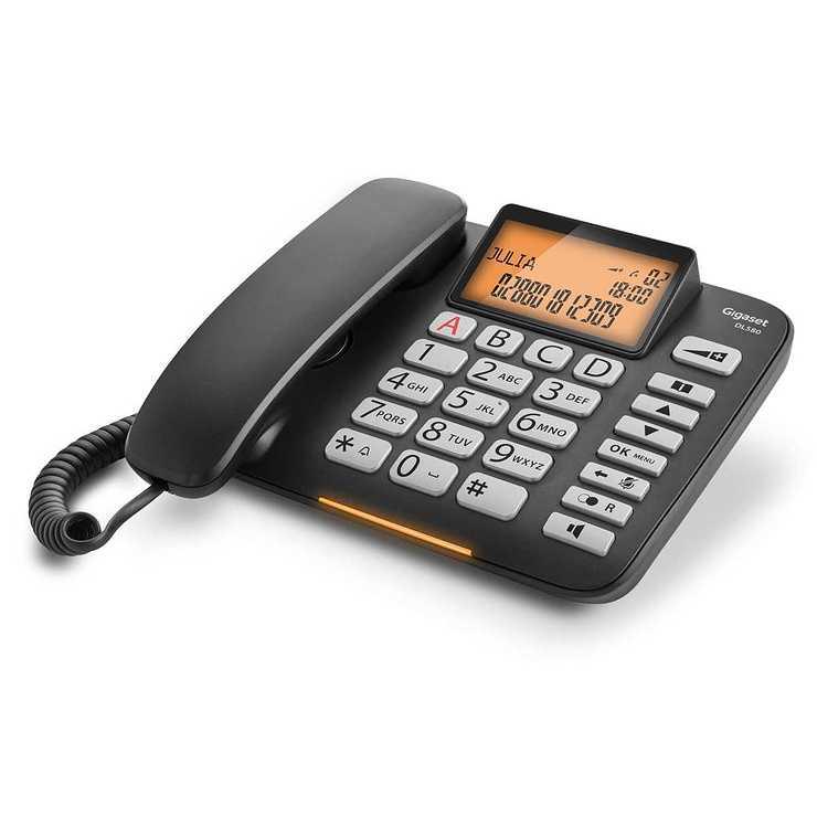 TELEPHONE DL580 FILAIRE A TOUCHES LARGES - NOIR dl5802