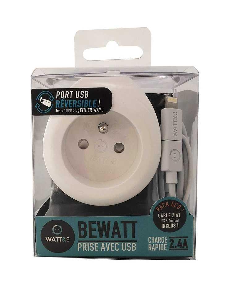 CHARGEUR BEWATT USB 2.4A + 16A BLANC 3760110686538packhd