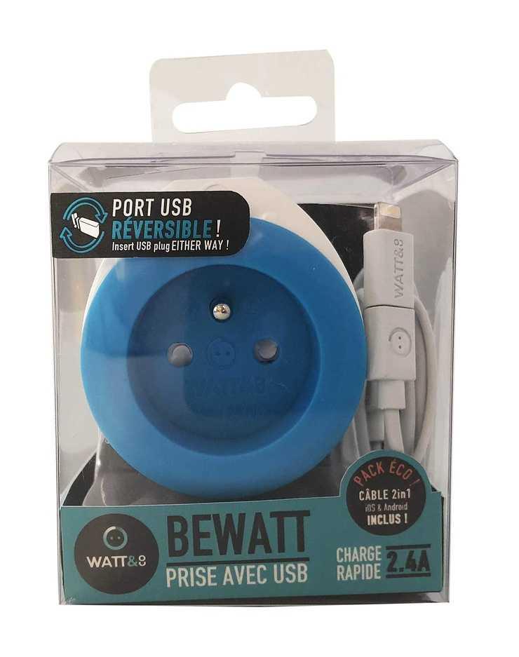 CHARGEUR BEWATT USB 2.4A + 16A BLEU ch220usb-bl2