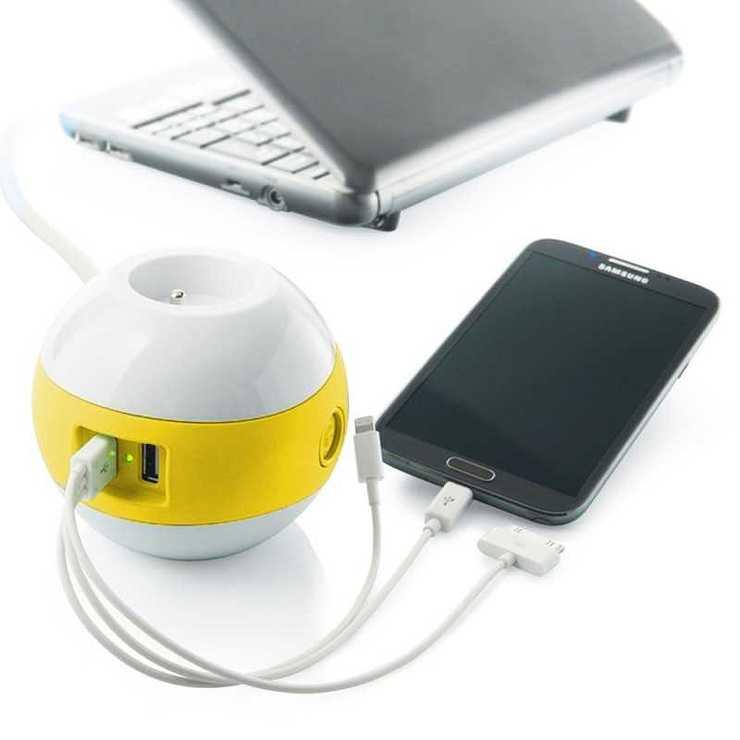MULTIPRISE WATTBALL MULTIMEDIA 2XSECTEURS + 2 X USB JAUNE mpwattbljaune2