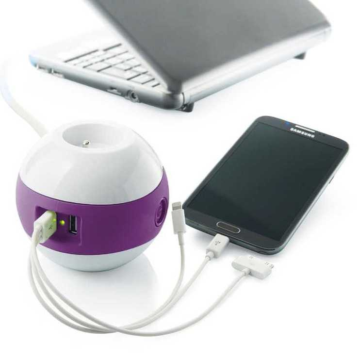 MULTIPRISE WATTBALL MULTIMEDIA 2XSECTEURS + 2 X USB VIOLET mpwattblviolet2