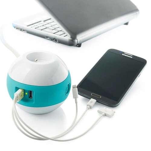 MULTIPRISE WATTBALL MULTIMEDIA 2XSECTEURS + 2 X USB TURQUOISE mpwattblturquoise2