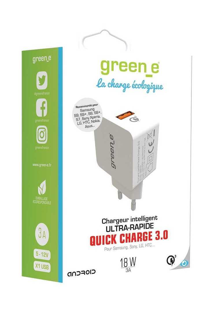 CHARGEUR SECTEUR QUICKCHARGE 3.0 USB BLANC gr60121