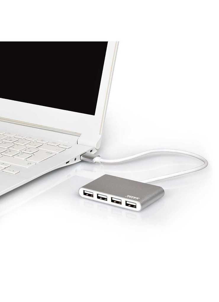 HUB 4 PORTS 4 USB 2.0 SILVER AUTOALIMENTE usb-hub-4-ports-204