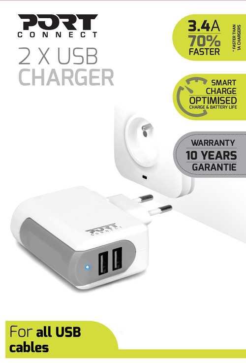 CHARGEUR SECTEUR PORT 2 X USB 3.4A 900011p