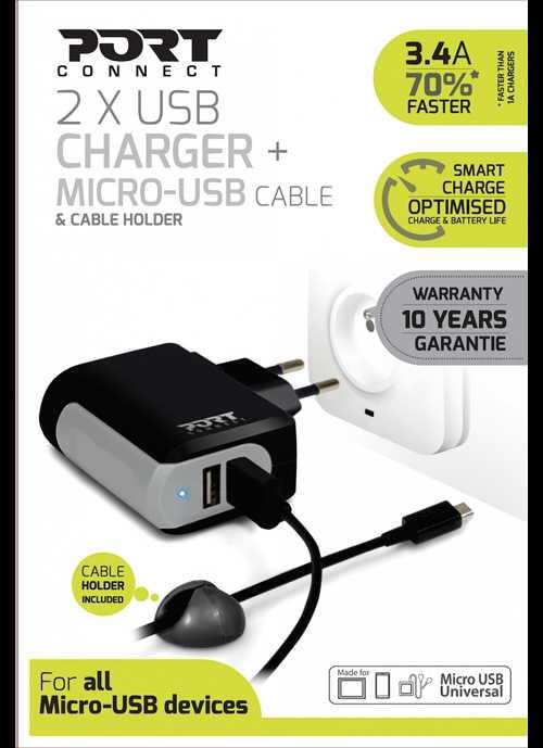 CHARGEUR SECTEUR 2 X USB 3.4A + CORDON MICRO USB 900017-5