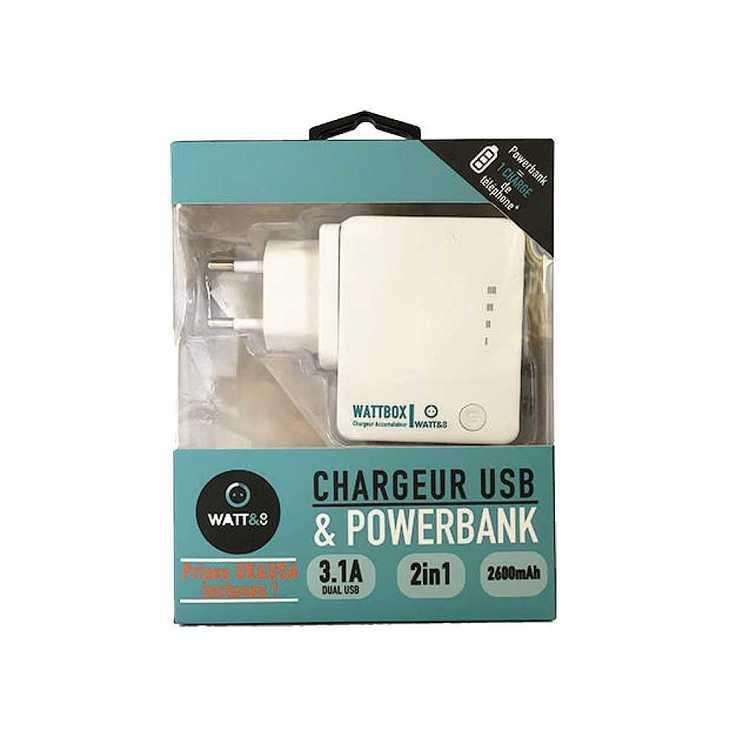 CHARGEUR USB + POWERBANK 2600 MAH + 3 PRISES SECTEUR EU/UK/US chwattboxpackaging