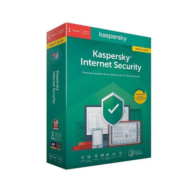 LOGICIEL KASPERSKY INTERNET SECURITY 1 POSTE 1 AN 0