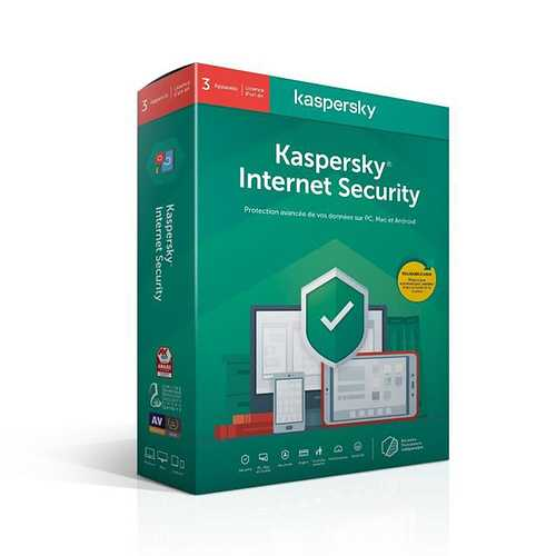 LOGICIEL KASPERSKY INTERNET SECURITY 2020 3 POSTES 1 AN 0
