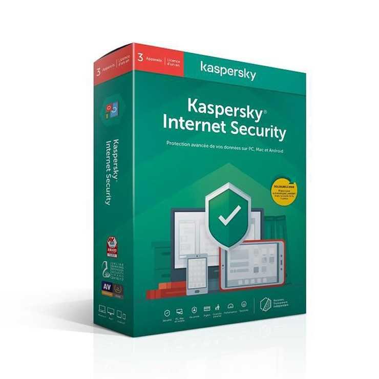 LOGICIEL KASPERSKY INTERNET SECURITY 3 POSTES 1 AN 0