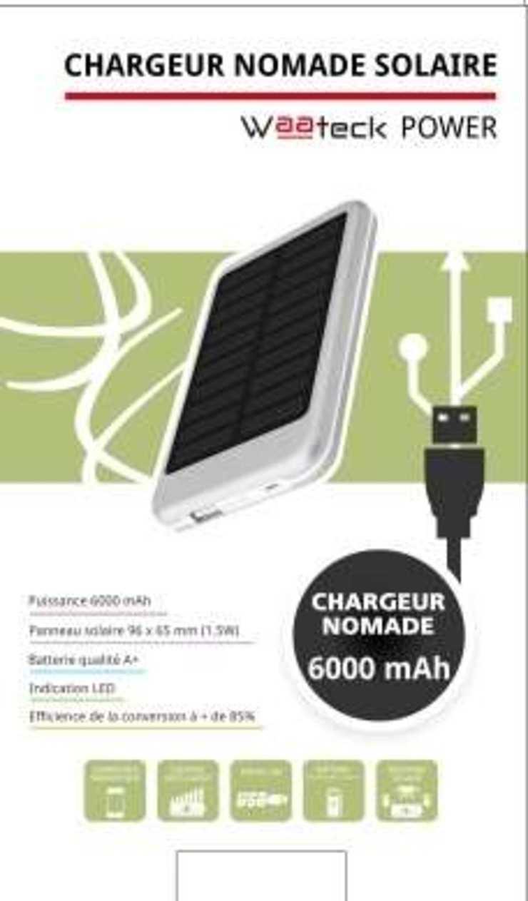 CHARGEUR SOLAIRE 6000MAH 1X 1A nm1820p