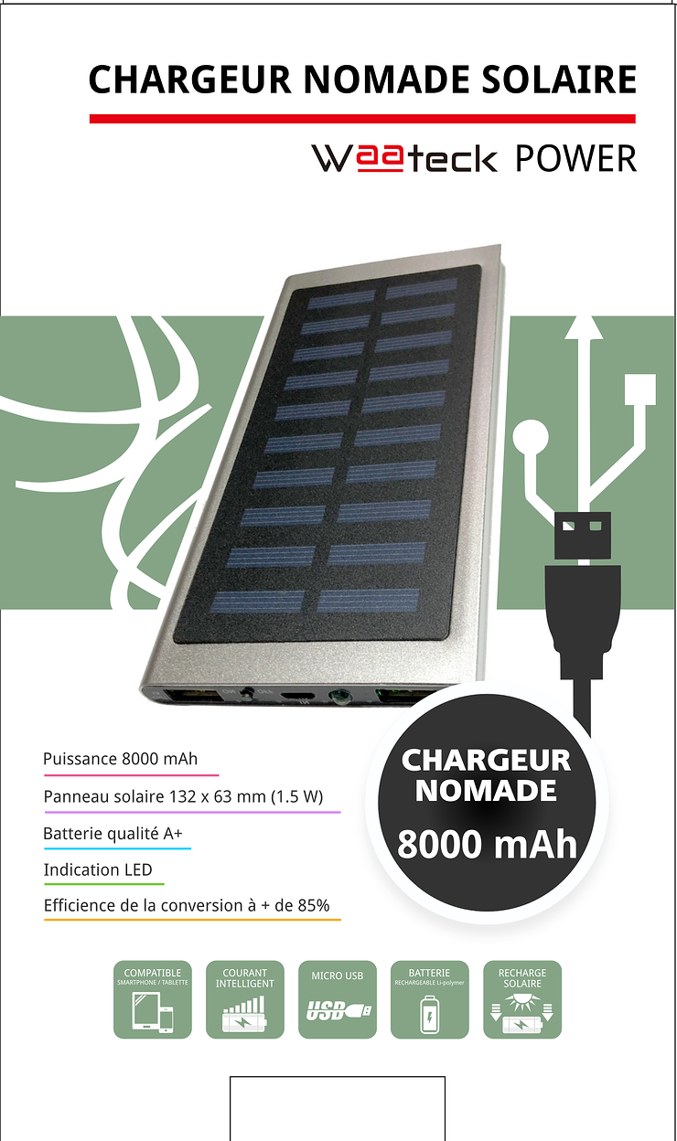 CHARGEUR SOLAIRE 8000MAH 1X 1A + 1X 2.1A powerbanknm1821packagingface