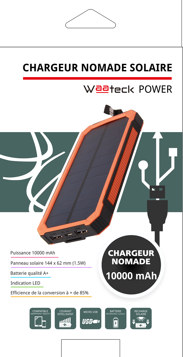POWERBANK SOLAIRE 10000MAH 1X 1A + 1X 2.1A nm1822p