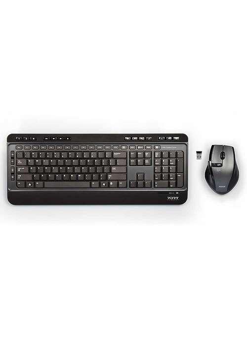 CLAVIER + SOURIS SANS FIL USB + TYPE C NOIR 9009013
