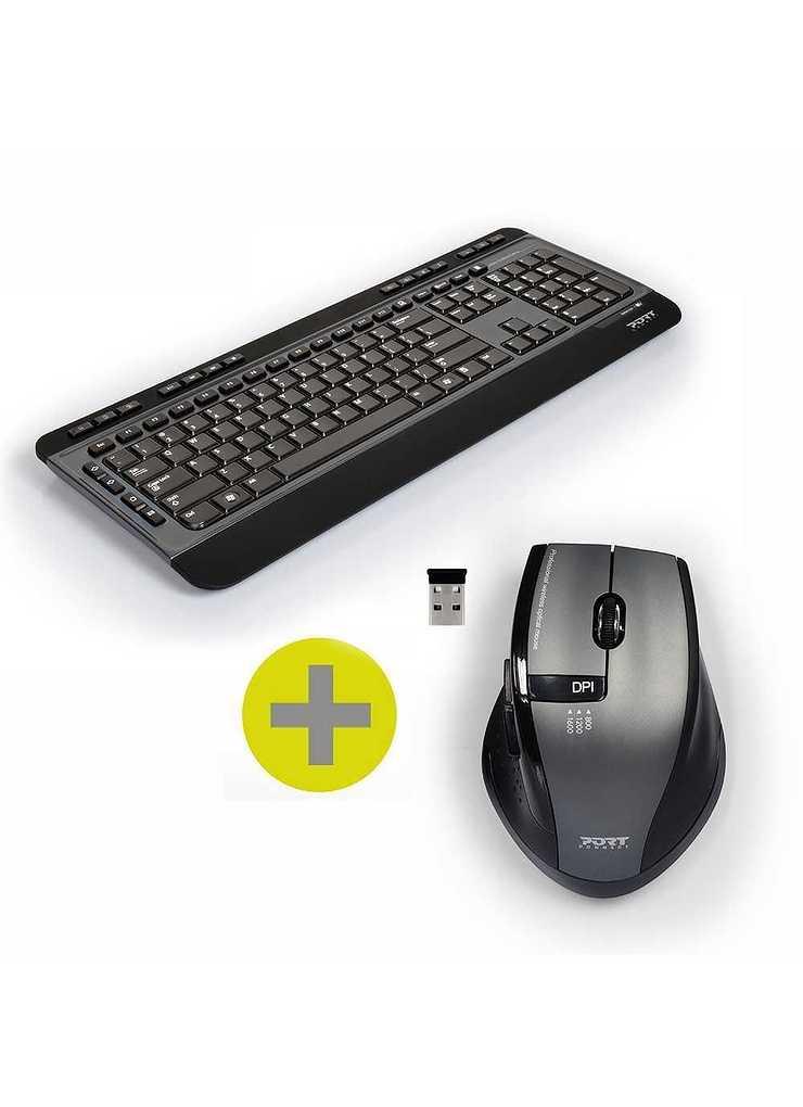CLAVIER + SOURIS SANS FIL USB + TYPE C NOIR 9009012