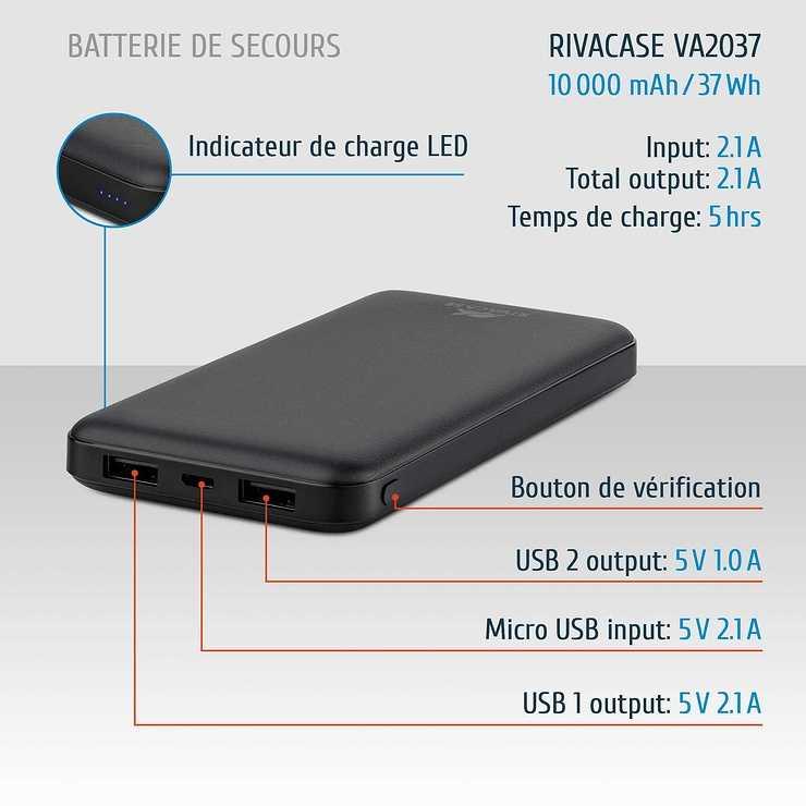 LOT DE 12 CHARGEURS VA2037 10000 MAH 2.1A MICRO USB/USB 2.4A 2037fr1