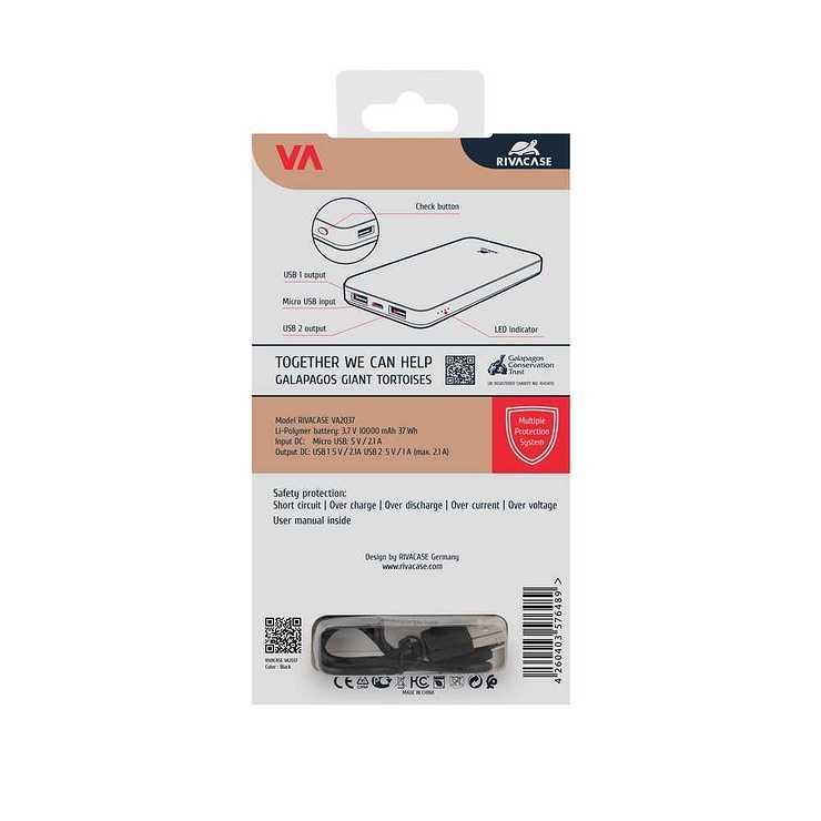 CHARGEUR VA2037 10000 MAH 2.1A MICRO USB/USB 2.4A va2037packback