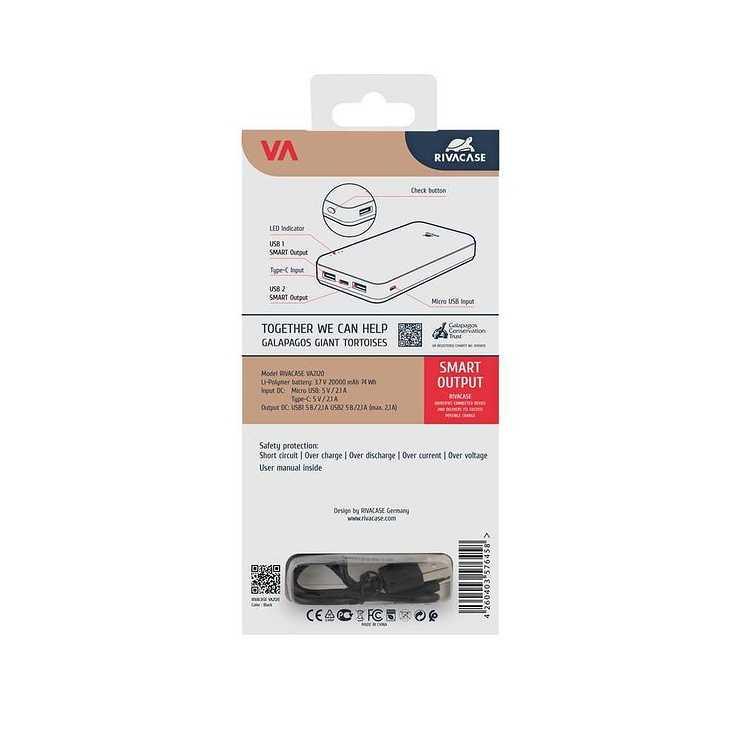 POWERBANK VA2120 20000 MAH 2.1A MICRO USB/TYPE C va2120packback