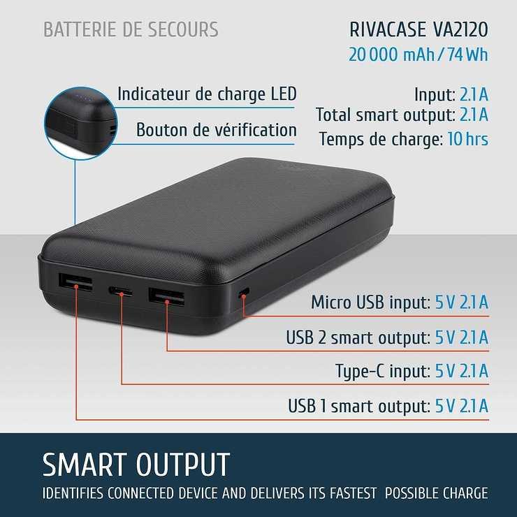 LOT DE 12 CHARGEURS VA2120 20000 MAH 2.1A MICRO USB/TYPE C 2120fr1