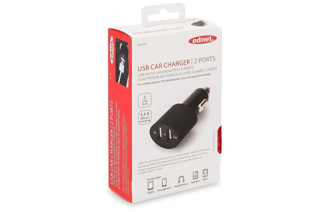 LOT DE 10 CHARGEURS ALLUME CIGARE USB 2 PORTS 1x 1A + 1 X 2.1A 84100-2hd