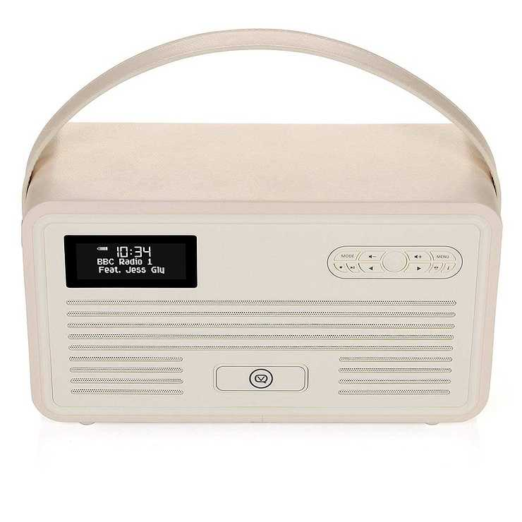 LOT DE 2 RADIOS RETRO MKII DAB / BT / FM 10 WATTS SIMILI CUIR - CREME vqretromkiicreme1