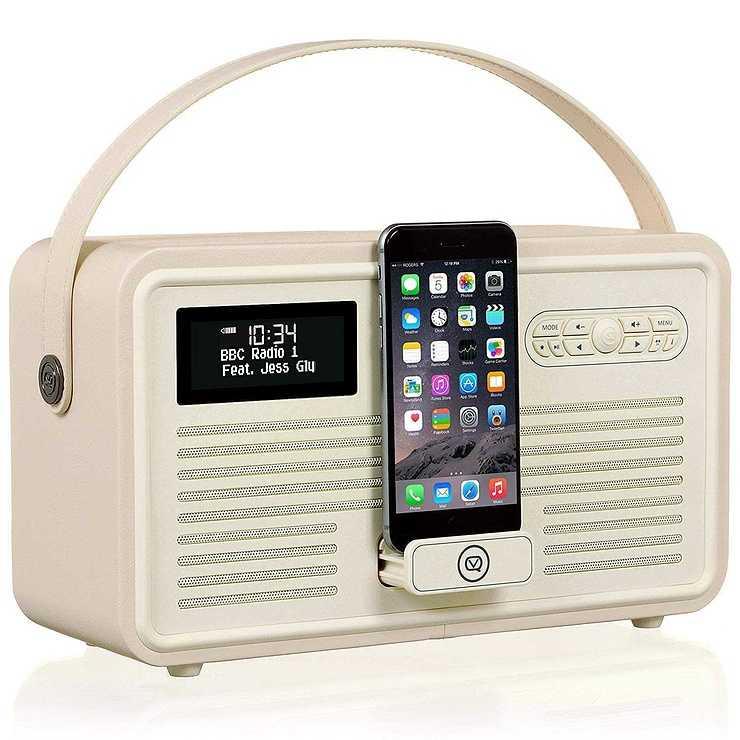 LOT DE 2 RADIOS RETRO MKII DAB / BT / FM 10 WATTS SIMILI CUIR - CREME vqretromkiicreme2