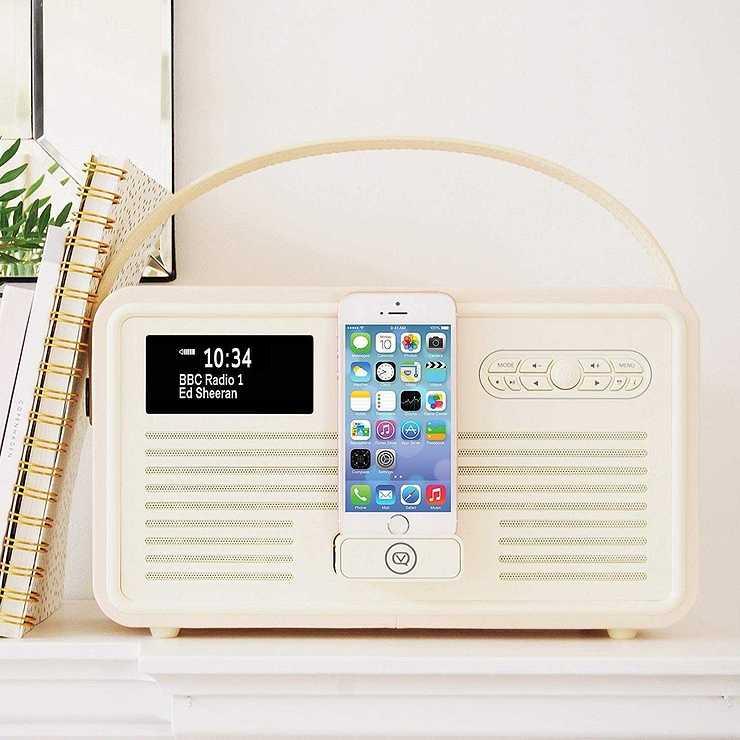 LOT DE 2 RADIOS RETRO MKII DAB / BT / FM 10 WATTS SIMILI CUIR - CREME vqretromkiicreme3