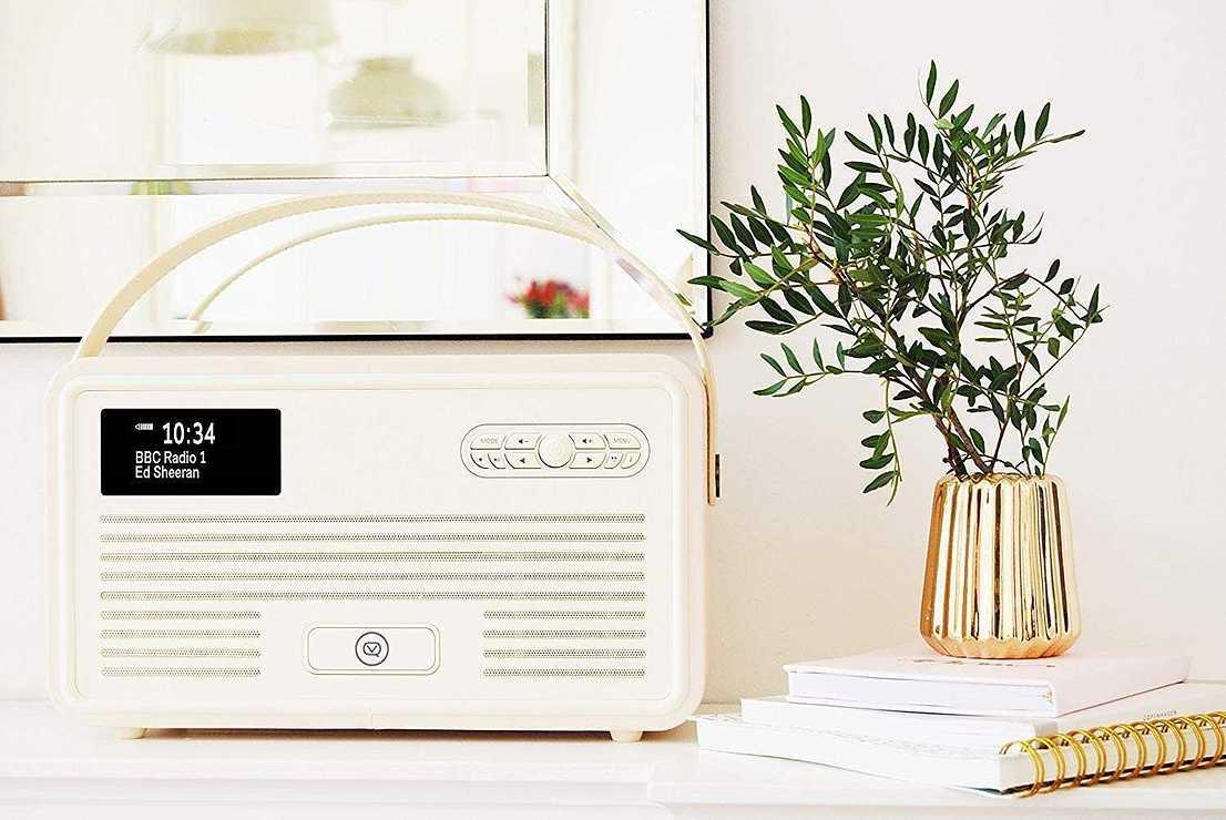LOT DE 2 RADIOS RETRO MKII DAB / BT / FM 10 WATTS SIMILI CUIR - CREME vqretromkiicreme6