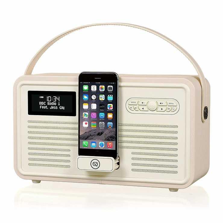 LOT DE 2 RADIOS RETRO MKII DAB / BT / FM 10 WATTS SIMILI CUIR - CREME 0