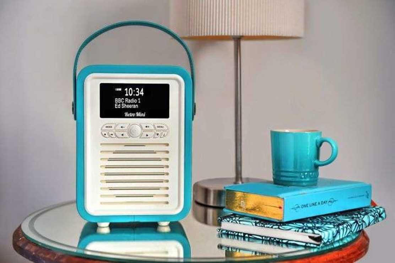 RADIO RETRO MINI DAB / BT FM 5 WATTS SIMILI CUIR - BLEU ELECTRIQUE vqminieb2