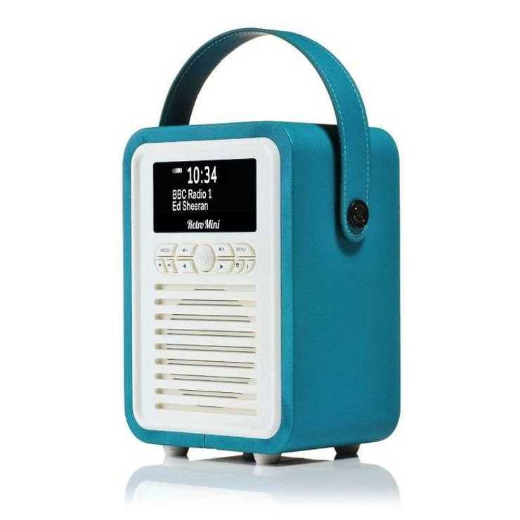 RADIO RETRO MINI DAB / BT FM 5 WATTS SIMILI CUIR - BLEU ELECTRIQUE vqminieb4