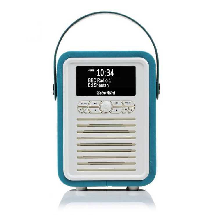 RADIO RETRO MINI DAB / BT FM 5 WATTS SIMILI CUIR - BLEU ELECTRIQUE 0