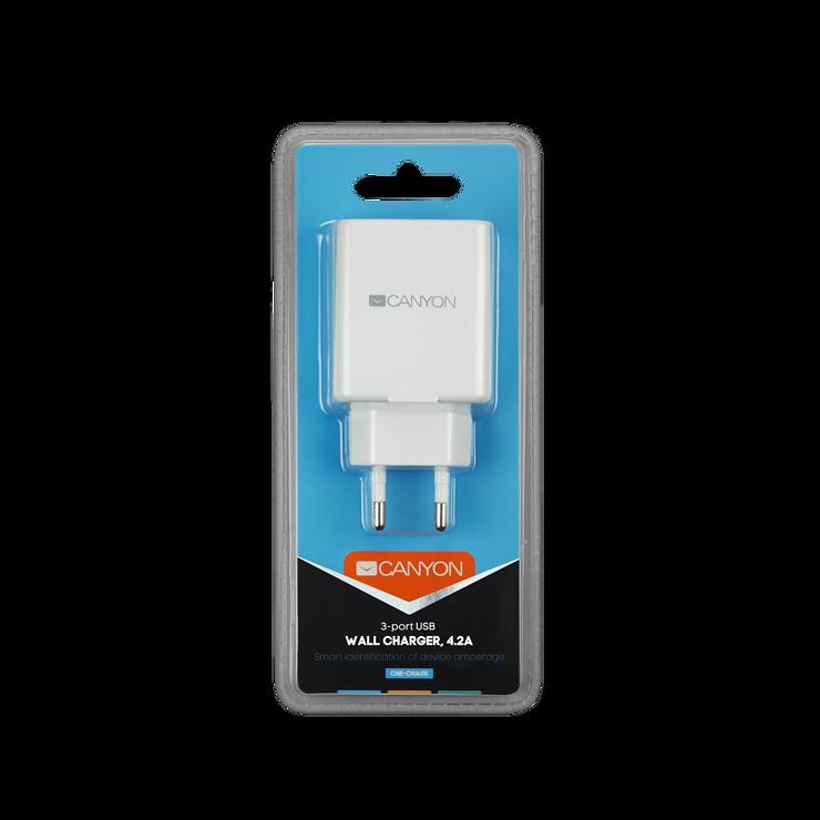 CHARGEUR SECTEUR 3 X USB 4.2A cne-cha05w-packsge