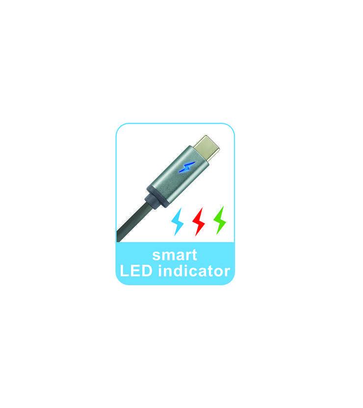 CORDON USB TYPE C 1 M AVEC INDICATEUR LED rs13353cns-usbc6dg2
