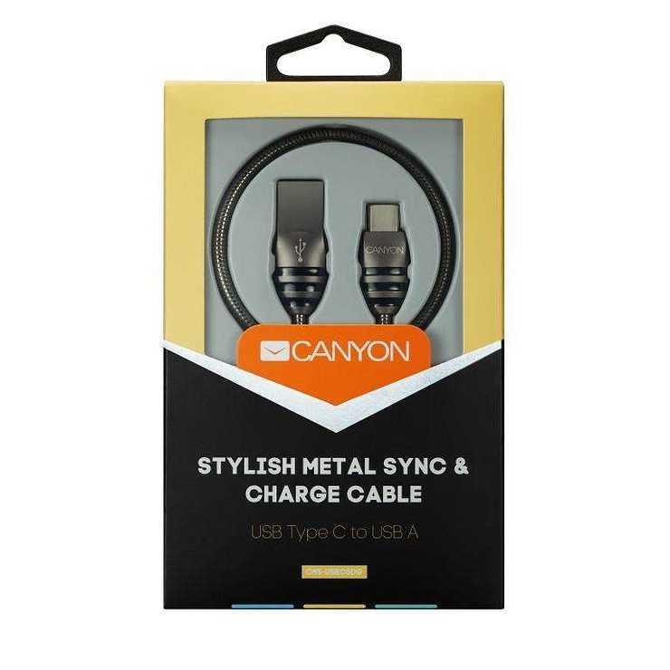 CORDON USB TYPE C 1.2 M MÉTALLIQUE rs10974cns-usbc5dgfront-hpr